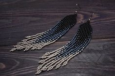 Grey Fringe Earrings, Seed Beaded Earrings, Extra long Tassel Earrings, Ombre Earrings, Hippie Earrings, Gypsy Earrings, Grey Earrings