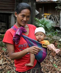 Laos - Mekong River Hill Tribe Village Mother & Baby