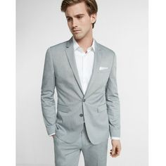 Express Extra Slim Innovator Gray Cotton Oxford Suit Jacket ($198) ❤ liked on Polyvore featuring men's fashion, men's clothing, grey, mens clothing, express mens clothing, slim fit mens clothing and men's apparel