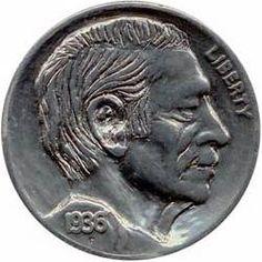 SONNY CARPENTER HOBO NICKEL - BRIAN B. - 1936 BUFFALO PROFILE Hobo Nickel, Carpenter, Buffalo, Classic Style, Coins, Carving, Profile, Scrapbook, Art