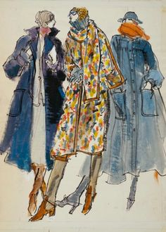 By Kenneth Paul Block, 1 9 7 4, Three models in fall coats by Ilie Wacs,  Bonnie Cashin, Victor Joris, W Magazine.