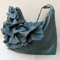 """I'm not a """"purse"""" person... but Stacy makes some of the greatest bags I have ever seen!  Wish I had the income to buy one and carry it.  lol!    Black Emerald Leather Bag with Natural Edge Ruffles by stacyleigh,"""