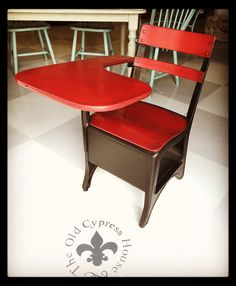 Old School Desk painted with Old Town Paints Super Red and finished with Black Wax...