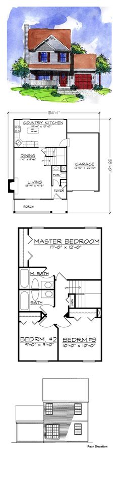 Victorian House Plan 57486 | Total Living Area: 1150 sq. ft., 3 bedrooms and 2.5 bathrooms. #victorianhome