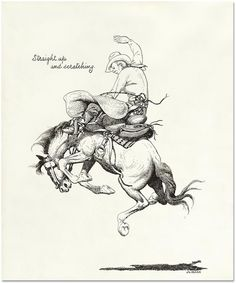 """Straight Up and Scratching by Jo Mora. These black & white archival prints feature images specifically from Jo's sketch books and his illustrations from the books Trail Dust and Saddle Leather and Californios. Offered as limited editions of only fifteen giclee prints of each image, the art remains the same size as the originals and is floated on 11"""" X 14"""" inch, brilliant white, ultra smooth, archival quality paper printed with inkjet technology with archival inks. Available at…"""