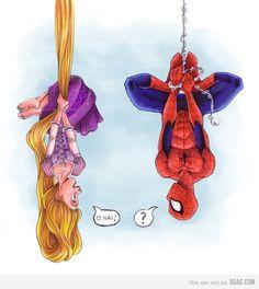 Rapunzel Spiderman - disney, marvel comics, tangled, princess, funny love my taned and SPIDERMAN Disney Marvel, Disney Pixar, Disney E Dreamworks, Disney Tangled, Walt Disney, Tangled Rapunzel, Humanized Disney, Disney Ships, Disney Animation