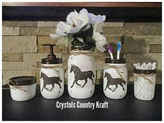 Indian bathroom decor, tepee decor, feather soap jar, arrow toothbrush holder, black and white bathroom Distressed hand painted mason jars. Horse Bathroom, Western Bathroom Decor, Brown Bathroom, Western Decor, Indian Bathroom, Cream Bathroom, Bathroom Stuff, Bathroom Ideas, Mason Jar Projects