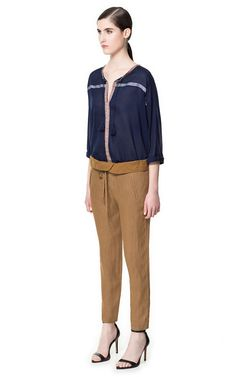 Image 1 of LINEN TROUSERS WITH TURN-OVER WAISTBAND from Zara