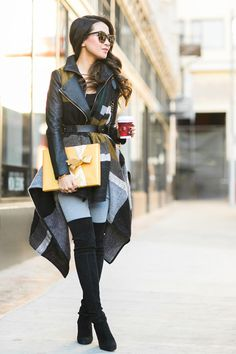 Happy Holidays :: Layered coat & Gold boxes :: Outfit :: Top :: J Brand jacket, River Island poncho Bottom :: Citizens of Humanity Shoes :: Stuart Weitzman Bag :: Chanel Accessories :: Karen Walker sunglasses, Chloe belt Published: December 23, 2015
