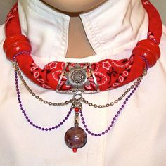 Red Hat Scarf Necklace with Purple Aluminum Ball by MyJannyMarie, $39.95