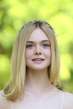 Elle Fanning wears a Twigs & Honey crystal beaded flower crown attends 'The Neon Demon' Photocall on June 6, 2016 in Rome #beauty