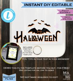 Halloween Snapchat Geofilter- Bat Costume Party Filter- Spooky October Party Phone Filter Personalize Custom Digital INSTANT Self EDITABLE by MaMiInspired on Etsy