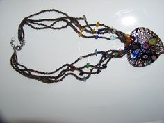 Millefiori Large Glass Heart Pendant Beaded Necklace by walkingwithjulann on Etsy