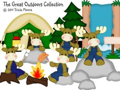 Camping Moose Outdoor Fun Made to Order Premade Paper Piecing set Scrapbooks Layouts Borders
