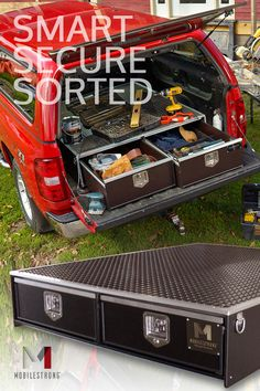 5 ft. Secure Storage Drawer for full size pick-up trucks. 47″ W x 57″ L x 10″H. Rubber Top. USA Made. Shop Now!