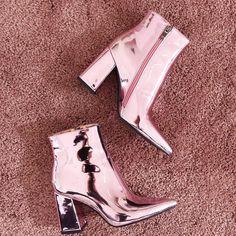 Rose gold chunky heels