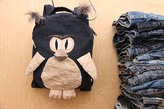 Owl backpack , denim backpack , upcycled denim backpack , jeans kids toddler backpack , Dark denim bag , childrens backpack , Bird backpack by SecondBirthday on Etsy