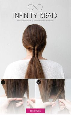 Add a personal twist to the low ponytail trend with an infinity braid. The look is fresh, easy, and totally boho-chic. Plus, you need only a small elastic to keep your mane in check. This summer, skip the old hair ties and give this braid a try. - DivineCaroline.com