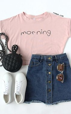 Pink Letters Print Cuffed Crop Top