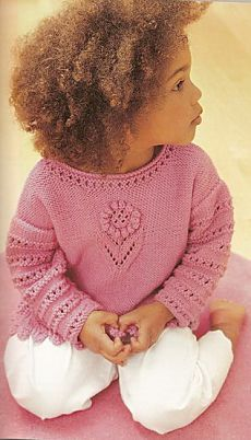 Ажурный свитер для малышки.