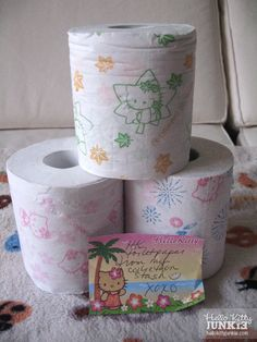 Kitty toilet paper... Maybe if they had mickey and minnie mouse maybe Alyssa would wanna try to...