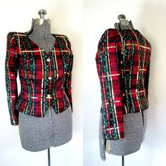 Traditional Christmas Plaid Sequined Jacket by rileybellavintage