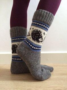 natural wool socks featuring hedgehogs and blue colourwork pattern. Fits EU… natural wool socks featuring hedgehogs and blue colourwork pattern. Knitting Wool, Fair Isle Knitting, Knitting Charts, Knitting Socks, Wool Socks, Knit Mittens, Winter Christmas, Blue Christmas, Arm Warmers