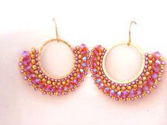 Items similar to Beaded Earrings / Swarovski Earrings / Gold Filled Earrings / Beaded Jewelry / Hoop Earrings / Beaded Hoop Earrings / Seed Beaded Earrings on Etsy Seed Bead Jewelry, Seed Bead Earrings, Cute Earrings, Beaded Jewelry, Handmade Jewelry, Unique Jewelry, Quilling Earrings, Hoop Earrings, Jewellery