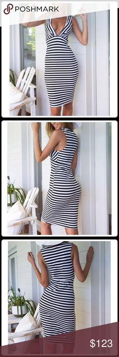 JUST-IN SLEEVELESS V-NECK BODY CON Unique style, create a illusion for stunning curves, make you more beautiful, fashion, sexy and elegant.  Material: Polyester  Color: White Black  Collar: V Neck  Sleeve: Sleeveless  Length: Knee Length  Pattern: Stripe  Occasion: Casual, Party  Garment Care: Hand-wash Machine washable   2+BUNDLE = SAVE  ✈️Ship Same Day--Purchase By 2PM PST  USE BLUE OFFER BUTTON TO NEGOTIATE   ✔️Ask Questions Not Answered In Description--Want You To Be Happy CHIC✨GIRL…