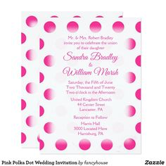 Pink Polka Dot Wedding Invitation