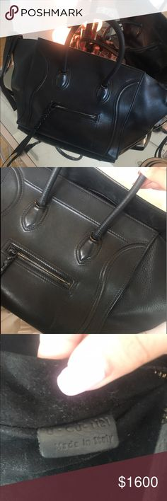 AUTHENTIC Celine Phantom Selling my authentic celine phantom. This bag has been very well loved but still has a lot of life left in it. You can notice wear on the handles and the inside needs to be cleaned but that can all be fixed! Also the clasp is missing you can see in one of the photos. this bag is 100% authentic and has already been authenticated by posh. Make me an offer. Can go lower through other places. Celine Bags Totes