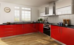 kitchen cabinets, laminate, red, OP14-HPL01
