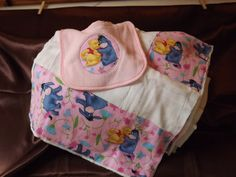 Burp cloth and bib set baby girl pooh and by AlishaCreativeDesign, $15.00