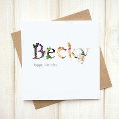 Personalised Birthday Card - Birthday Card for Her - Floral Birthday Card - Botanical Greetings Card - Special Age Card - Milestone Birthday - Etsy - LetsDreambyChiChiMoi