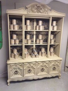 My Maison Blanch Display cabinet! Painted with Silver Mink then used Dark wax to age it! https://www.facebook.com/pages/Dumpster-Diva/265520813490127