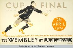 Cup Final : To Wembley by Underground. Railway Posters, Travel Posters, Transport Posters, Art Posters, London Transport Museum, Public Transport, London Underground, Vintage London, Old London