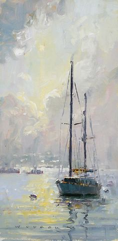 Mystical Morning Study by Jim Wodark Oil ~ 12 x 6 Watercolor Sea, Watercolor Artists, Watercolor Paintings, Sailboat Art, Sailboat Painting, Sailboats, Selling Paintings, Seascape Paintings, Artist Art