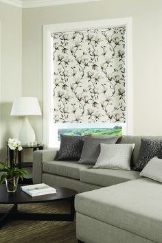 Roller Blinds by Louvolite® - Magnolia - Inky - Blackout. A beautiful watercolour trail design featuring blooming magnolia flowers. Fitted Blinds, Grey Blinds, Blinds For Windows Living Rooms, House Blinds, Perfect Fit Blinds, Honeycomb Blinds, Roller Blinds, Roller Shades, Best Blinds