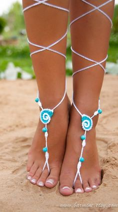 $17 These wonderful seashell barefoot sandals with Turquoise gemstone can be worn barefoot or with shoes. Just perfect for your beach wedding! I can make