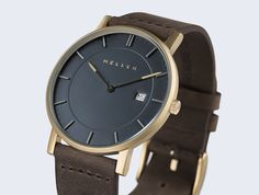 Balk dark leather watch Meller Earth perspective