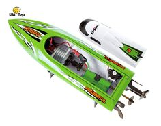 Bright Green Udirc Venom UDI002 2.4GHz High Speed Remote Control Electric Boat. Includes BONUS BATTERY (*Doubles Racing Time*)