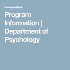 Program Information | Department of Psychology
