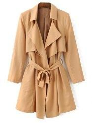 #Gamiss - #Gamiss Long Sleeve Lapel Neck Belted Cape Trench Coat - AdoreWe.com