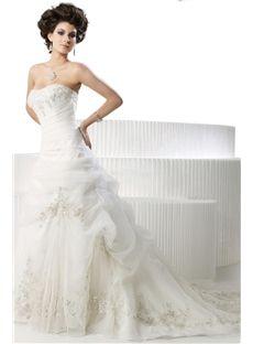 Elegant Organza A-Line Sweetheart Sleeveless Beading Embroidery Bridal Wedding Dresses (3AA0051)
