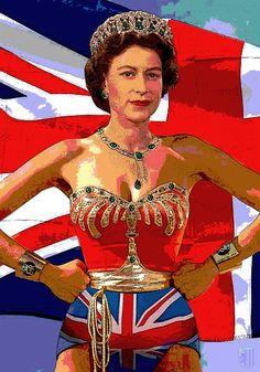"Wonder Queen by Andy ""Zig"" Leipzig -- illustration of Queen Elizabeth II as Wonder Woman"