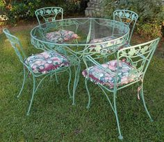Vintage Wrought Iron Patio Set Dogwood Blossoms Branches Sage Green 8 Pcs
