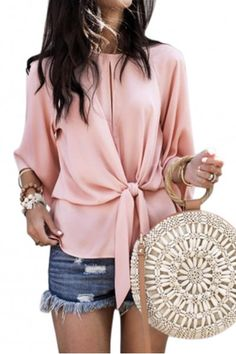 Fashionable Hollow Round Collar Pure Color Band Top blouses for women chic blouses for women casual blouses outfit cute blouses blouses for women work business casual Tie Blouse, Shirt Blouses, Chiffon Blouses, Blouse Outfit, Work Blouse, Look Con Short, Business Shirts, Business Casual, Blouse Online