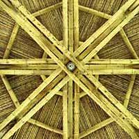Roof of a kiosk, bottom view Bamboo Roof, Bamboo House, Bamboo Fence, Bamboo Architecture, Sustainable Architecture, Bamboo Restaurant, Concrete Cover, Bamboo Fountain, Bamboo Building