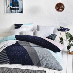The Monday blues don't seem as bad with gorgeous, contemporary bedlinen. Beckett is a quilted cotton design with modern geo patterns and stylish texture. #bedlinen #quiltcover #bedroomdecor #bedroomideas #adairs #homerepublic