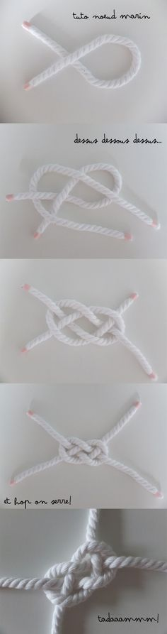 Tuto Noeud Marin Tuto Noeud Marin The post Tuto Noeud Marin appeared first on Armband ideen. Diy Bracelets How To Make, Diy Jewelry, Jewelry Making, Nautical Knots, Arts And Crafts, Diy Crafts, Macrame Knots, Craft Projects, Weaving